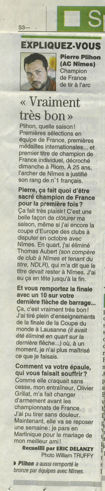 midi libre 16 septembre 2014 pierre plihon champion de france